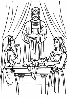 Solomon, two women, and a baby. Bible coloring page