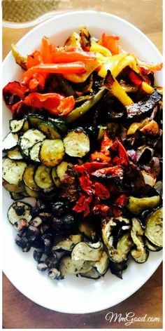 Roasted grilled vegetables, the perfect side dish to any BBQ. Great in salads, on pita or alone, you will love this recipe! | www.MmGood.com