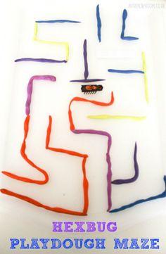 Making Hexbug mazes with playdough