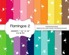 """Flamingo Digital Paper Pack 12"""" x 12"""" Nautical Preppy Commercial and Personal Use royalty free rainbow printable 20 sheets INSTANT DOWNLOAD"""