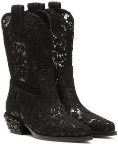 79aa67d87cb Dolce   Gabbana Women s Black Lace Cowboy Boots