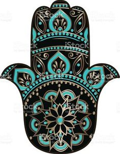 drawing of a Hand of Fatima in black, gold and turquoise colors on a white background Hamsa Painting, Mandala Painting, Fatima Hand, Hansa Hand, Bohemian Crafts, Hamsa Art, Mehndi Style, Turkish Art, Decoupage Vintage