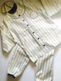 Pinstripe Baseball Player Halloween Costume Mens Vintage Style Cap M L