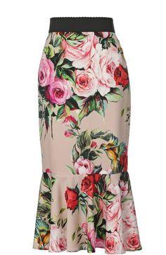 Шелковая юбка годе с цветочным принтом Dolce & Gabbana (Дольче Габбана) 0102/F4AG4T/FSA (розовый) купить по цене 37300 руб.