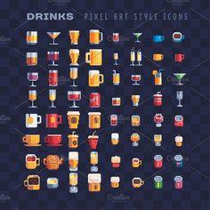 Drinks pixel art icons set by VectorPixelStar on Game Design, Animal Crossing, Pixel Art Games, Pixel Art Food, 8 Bit Art, Pix Art, Anime Pixel Art, Art Icon, Art Tutorials