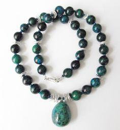 Weiteres - Chrysokoll-Perlen-Kette mit Silber - ein Designerstück von soschoen bei DaWanda