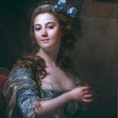 Self portrait by Marie-Gabrielle Capet.  This French painter of portraits in oil, water-colours, and miniature, was born of humble parentage at Lyons in 1761.  She became a pupil of Madame Vincent and exhibited first in 1781.    She produced a large number of portraits, of which the best known are those of Mesdames Adelaide and Victoire(Louis XVI's aunts), Madame Vincent surrounded by her pupils, Mile. Mars, and Houdon the sculptor. Mile, Capet died in Paris in 1818.