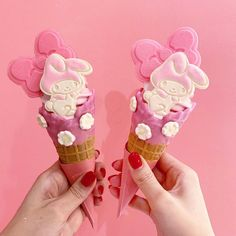 My Melody has been transformed into delightful ice cream! 🎀🍦 These kawaii pink treats are from Eddy's Ice Cream shop in Harajuku, Japan. Cream Aesthetic, Aesthetic Food, Kawaii Subscription Box, Pink Treats, Ice Cream Drinks, Ice Cream Packaging, Kawaii Dessert, Cafe Food, My Melody