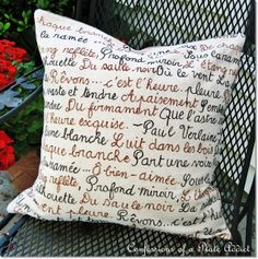 CONFESSIONS OF A PLATE ADDICT: DIY French Poetry Pillow...and...Envelope Closure Tutorial