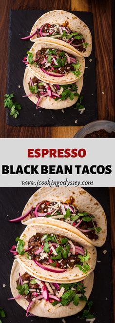 Espresso Black Bean Tacos - List of the best food recipe Mexican Food Recipes, Vegetarian Recipes, Healthy Recipes, Ethnic Recipes, Vegetarian Platter, Mexican Meals, Crockpot Recipes, Brunch Recipes, Breakfast Recipes