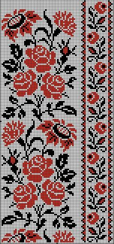 Simple Cross Stitch, Cross Stitch Rose, Cross Stitch Borders, Cross Stitch Alphabet, Cross Stitch Charts, Cross Stitching, Cross Stitch Patterns, Crochet Patterns, Cross Stitch Tattoo