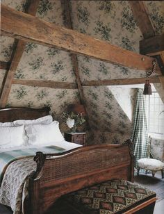 Beamed Bedroom, exposed vaulted ceiling, floral and check