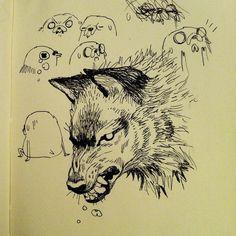wolf head by emily partridge Art And Illustration, Illustrations, Kunst Inspo, Art Inspo, Sketchbook Inspiration, Art Sketchbook, Pretty Art, Cute Art, Comic Style