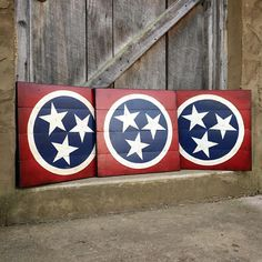 The Tennessee tristar hand painted in classic colors always makes the perfect statement piece. We only use reclaimed wood gathered here in Tennessee for our signs so each one has its own unique look, available online at www.signniche.com