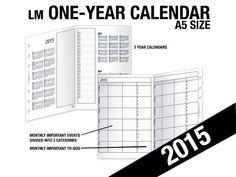 2015-1yr Calendar /A5 Inserts Refills Filofax Binder by DIYfish