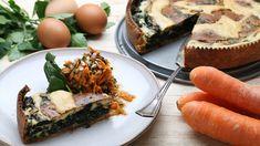 Attraktiv und sehr köstlich: grüner Spinat und weiße Schmandsoße vereinen sich auf knusprigem Mürbeteig. Rainer Klutsch serviert dazu knackigen Möhren-Kohlrabi-Salat.