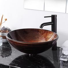 Bathroom Bowl Glass Sink Faucet Combo Oil Rubbed Bronze