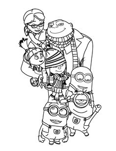 gru agnes edith margo despicable me coloring pages picture