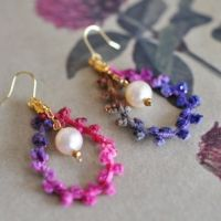 Pink / Purple Thread & Pearl Earrings