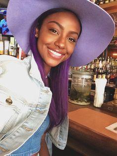 pretty black woman, purple hair and purple eyebrows. #purplehair #purpleeyebrows…