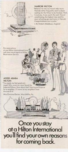 I have loads of memories of the Hilton!  Nairobi Hilton Ad 1971