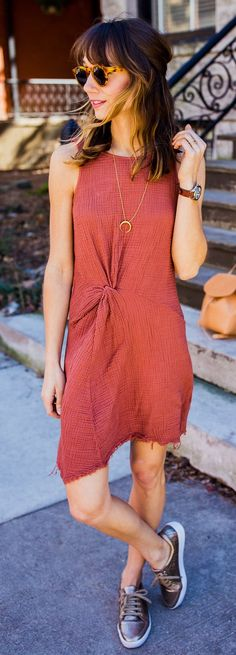 #spring #outfits  Red Sleeveless Dress & Dark Sneakers