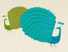 peacocks - mid century design art print.