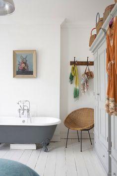 bathroom with grey tub