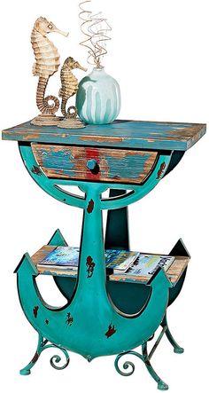 Anchors Aweigh Coastal Side Table #ad #coastal #nautical #ocean #beachhouse #coastaldecor