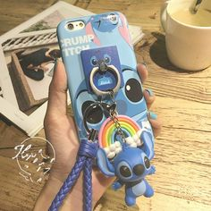 Cute Stitch Mike Pendant Ring Stand Toy String Case Cover for iPhone 7 6 plus – Phone cases Iphone 7, Diy Iphone Case, Coque Iphone, Iphone Phone Cases, Iphone Charger, Cute Stitch, Lilo And Stitch, Cute Cases, Cute Phone Cases