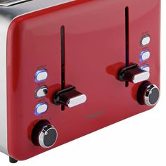Buy Cookworks 4 Slice Toaster - Red | Toasters | Argos Black Toaster, Toasters, Cord Storage, Crumpets, Red Design, Brushed Stainless Steel, Argos, Clean Up, Keep It Cleaner