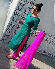 Find out about the best Latest Elegant Punjabi Suit also Elegant Designer ladies Punjabi Suit in which case CLICK Visit link above to read Salwar Pattern, Kurta Patterns, Dress Patterns, Neck Designs For Suits, Dress Neck Designs, Blouse Designs, Punjabi Fashion, Indian Fashion, Indian Attire