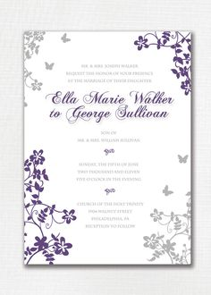 Wedding Invitation Custom Classic Floral Butterfly. Purple and Gray. Beautiful, simple. Printable or I Print. - Ella & George. $20.00, via Etsy.