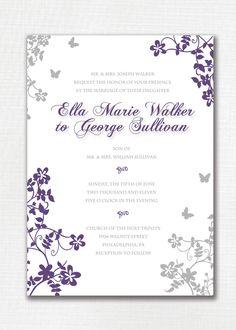 Wedding Invitation Custom Classic Floral Butterfly. Purple and Gray. Beautiful, simple. Printable or I Print. - Ella & George. $20.00, via Etsy.