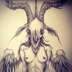 New Doodle-Drawings in the works… Soon for sale! #Art #Devil #Baphomet # Drawing #Monster #Satan #Illustration #Demon #Doodle #Death #Angel #Occult #Dark #Horror #Pagan #Ink #Goat #Black #Skull #Crow #Wings #Boobs #Nude #Artwork