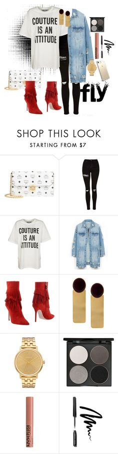 """""""Graphic T Shirt"""" by monicalyn ❤ liked on Polyvore featuring MCM, Topshop, Moschino, LE3NO, Aperlaï, Silhouette, Nixon, Gorgeous Cosmetics, NYX and Bobbi Brown Cosmetics"""