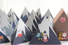 Advent Calendar Mountain Range Countdown to Christmas