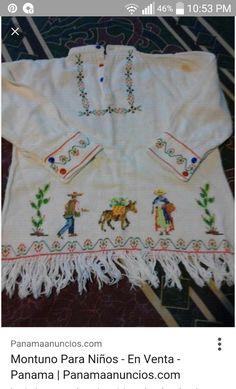 Montuno bordado Mexican Blouse, Panama, Diy Crafts, Embroidery, Sewing, Crochet, Regional, Folk, Men Clothes