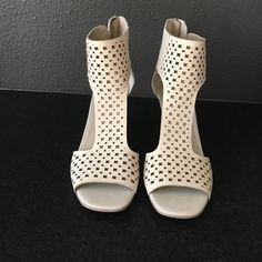 Via Spiga taupe wedges Very stylish nude wedges with zip up the back and cut out leather design. Very comfortable. Tried on but never worn. Heal height is 3 1/2 inches. Perfect for comfort! Via Spiga Shoes Wedges