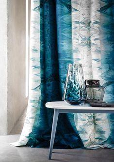 beautiful blues & white Victoria digital print by Casamance at Maison & Objet 2016 Paris Hallway Curtains, Cute Curtains, Curtains With Blinds, Window Curtains, Curtain Styles, Curtain Designs, Curtain Ideas, Rideaux Design, Casamance