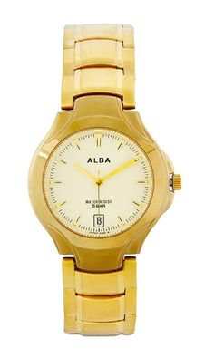 Axdg62 Round Watch by Alba. A simple watch with elegant looks and gold color, stainless steel case and band, this elegant watch is a water resistant, diameter 3 cm, strap length 22 cm. Elegant watch for everyday use. http://www.zocko.com/z/JFRQO