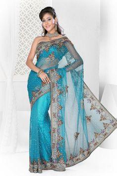 Exclusive Blue Net Saree #asian #fashion #women #ladies #feminine #desi #saree #anarkali #lehenga #blouse #caftan #silk #kimono #sari #bollywood #jewelry #jade #outfit #designer #couture #indian #pak #georgette #celebrity #collection
