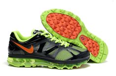 $48.68   Fake Mens Nike Air Max 2012 Electric Green Dark Grey Black Orange Shoes