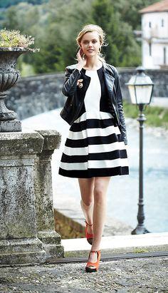 Black leather biker jacket, white blouse, blacm and white striped skater skirt. #anthropologie
