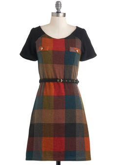 For the Love of Plaid Dress by Yumi - Mid-length, Multi, Pockets, Belted, Casual, A-line, Short Sleeves, Fall, Rustic, Scholastic/Collegiate, Plaid