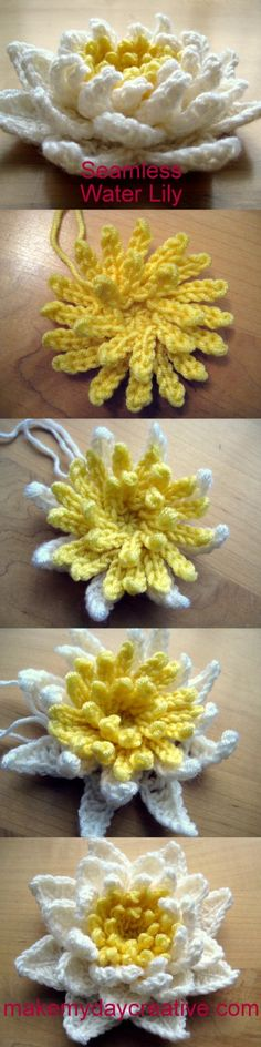 How to crochet a Water Lily in 1 piece - free pattern
