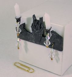 Gothic Medieval 2-candle dragon sconce by AuntElliesMiniatures
