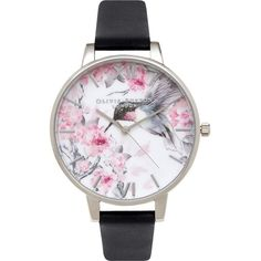 OLIVIA BURTON OB15PP10 painterly prints hummingbird stainless steel... ($115) ❤ liked on Polyvore featuring jewelry, watches, white dial watches, olivia burton, stainless steel wrist watch, leather strap watches and roman numeral watches