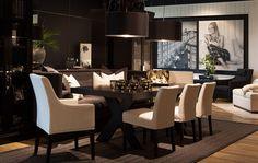 Elegant Dining Room, Dining Room Table, Dining Area, Dining Rooms, Black And White Interior, Interior Decorating, Interior Design, Scandinavian Interior, Modern Decor