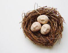 Sleeping  mixed media ceramic nest by EvolveStudioShop on Etsy, $42.00 contemporary abstract ceramic art work